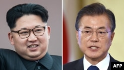 Kim Jong Un (solda) və Moon Jae-In