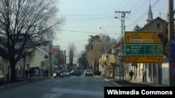 The main street in the town of Sid, Province of Vojvodina, Serbia