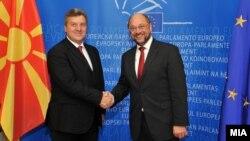 Претседателот Ѓорге Иванов се сретна со претседателот на Eвропарламентот Мартин Шулц во Брисел.