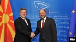 Претседателот Ѓорге Иванов со претседателот на Eвропарламентот Мартин Шулц, Брисел.