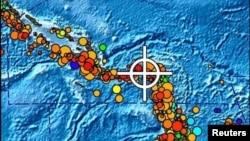 Место землетрясения в районе Соломоновых островов в феврале 2013 года