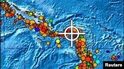 Në hartë shihet territori i rrezikuar nga cunami, që i goditi Ujëdhesat Solomone në Paqësorin Jugor