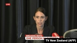 New Zealand's Prime Minister Jacinda Ardern addresses the country on television following the mosque shooting in Christchurch on March 15.