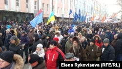 Marchers chanted the names of those still being held as they made their way through Moscow streets.