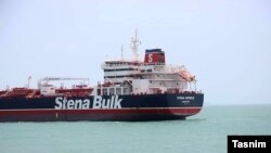 Iran - The British operated oil tanker Stena Impero impounded in Iran's port of Bandar Abbas. July 2019