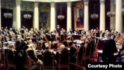 Илья Репин. Торжественное заседание Государственного Совета 7 мая 1901 года в честь столетнего юбилея со дня его учреждения. 1904 год.