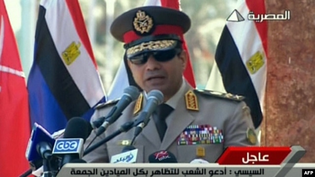 A TV grab shows army chief General Abdel Fattah al-Sisi giving a live broadcast on July 24 calling for public rallies this week to give him a mandate to fight 'terrorism and violence.'
