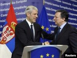 Boris Tadić i Žoze Manuel Barozo u Briselu, 28. februar 2012.