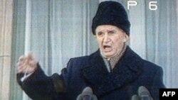Nicolae Ceausescu gjatë fjalimit të fundit publik më 21 dhjetor, 1989.