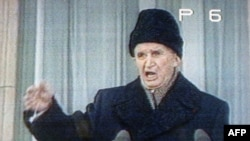 Romanian President Nicolae Ceausescu delivers his last public speech in Bucharest on December 21, 1989.