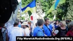 Участники протестной акции за реструктуризацию валютных кредитов. Киев, 21 мая 2015 года.