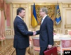 Віктор Янукович (ліворуч) і Штефан Фюле, Київ, 12 лютого 2014 року