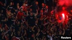 Навивачите на Албанија на квалификацискиот натпревар за светското фудбалско првенство во 2018 меѓу Македонија и Албанија во Струмица на 5 септември 2017 година