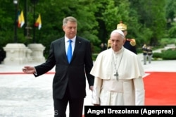 Papa Francisc și președintele român Klaus Iohannis la Palatul Cotroceni, 31 mai 2019