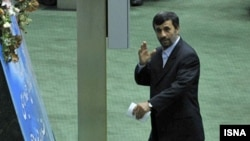President Mahmud Ahmadinejad in parliament during debate last week over his ministerial appointments