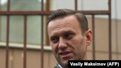 Russian opposition leader Aleksei Navalny in a Moscow court on October 2
