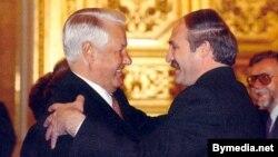 Барыс Ельцын і Аляксандар Лукашэнка, архіўнае фота