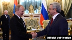 Russia - President Vladimir Putin meets with his visiting Armenian counterpart Serzh Sarkisian, Moscow, 8May2014.