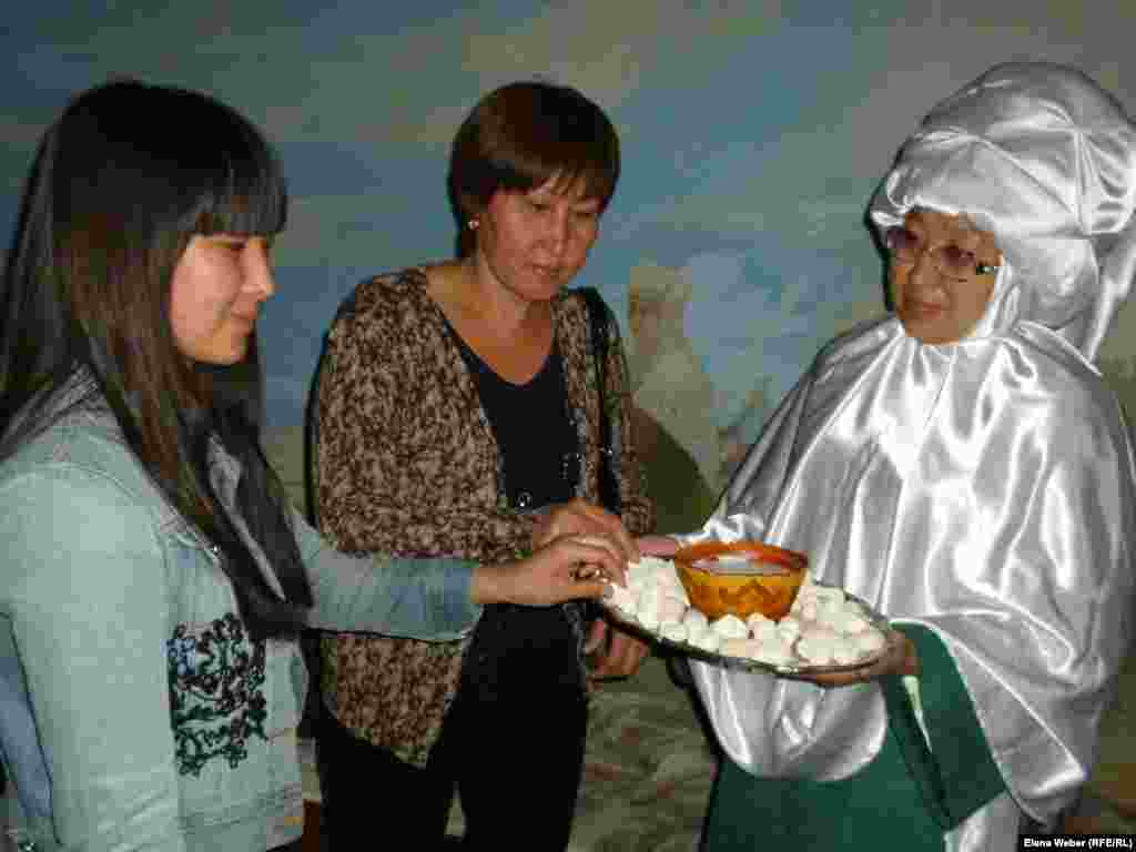Visitors to the Hall of Deportation were offered qurt, the Kazakh national cheese, to symbolize that Kazakhs often shared their food with the deported, saving them from starvation.