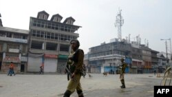 Indian paramilitary troopers during a strike in Kashmir in October.
