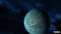 НАСА суретшісі салған бұл планета Жердің сыңары болуға жарайтындай тіршілік формасы бар ғаламшарды бейнелейді.