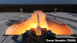 A rocket launches from the Vostochny Cosmodrome