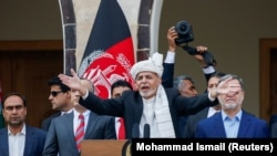 Afghan President Ashraf Ghani speaks during his inauguration as president in Kabul on March 9.