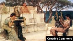 Алкей и Сафо. Картина Лоуренса Альма-Тадема