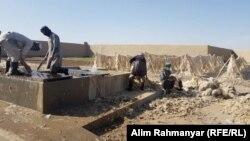 شستن پشم برای تولید قالین وطنی توسط کارگران در جوزجان