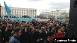 "Thousands rallied in Simferopol on December 10 to demand the ""revival of Crimean Tatars' rights"""