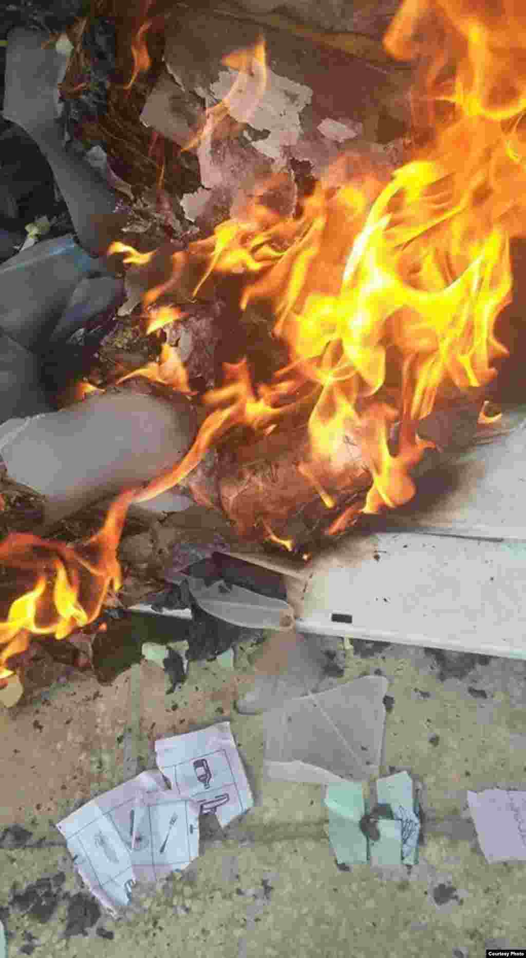 K.Pashtunkhwa: Ballot paper and ballot box burned out in Noshera. 1MAY2015