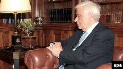 Грчкиот претседател Прокопис Павлопулос на средба со премиерот Алексис Ципрас во Претседателската палата во Атина на 20 август 2015