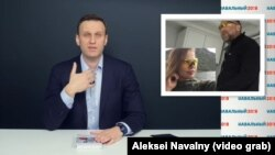 A video grab from the Navalny video about billionaire Oleg Deripaska and Deputy Prime Minister Sergei Prikhodko