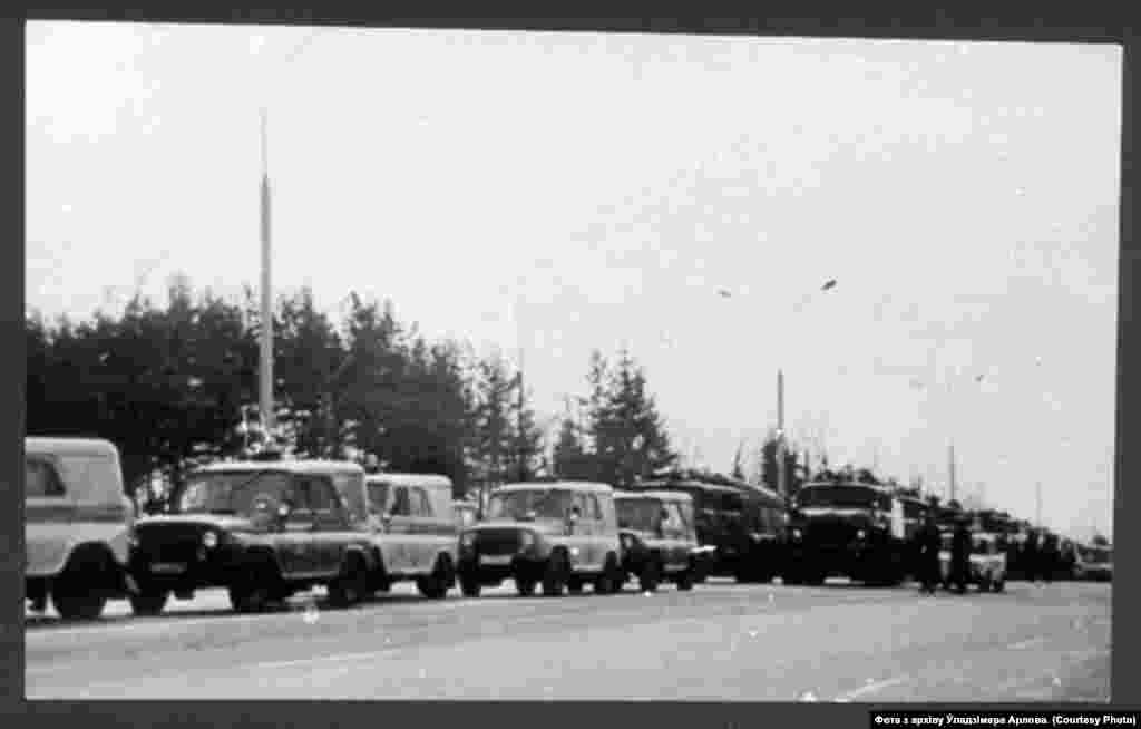 Сілы савецкай міліцыі, якія заблякавалі Курапаты.