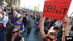 People demonstrate in support of Central European University (CEU) in Budapest on April 2.