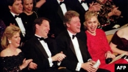 Tipper and Al Gore with then-President-elect Bill Clinton and Hillary Clinton in Washington in January 1993.