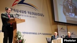 Armenia - Gagik Tsarukian speaks at a congress of his Prosperous Armenia Party, 12Feb2011.