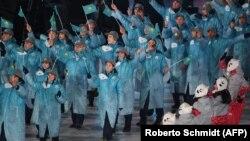 Қысқы олимпиаданың ашылу салтанатындағы Қазақстан ұлттық құрамасы. Пхенчхан, 9 ақпан 2018 жыл