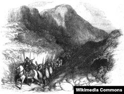 """Испанское войско во главе с Писарро переходит перуанские Анды в 1533 году. Гравюра из книги Уильяма Прескотта """"История завоевания Перу"""". Испанское издание 1851 года"""