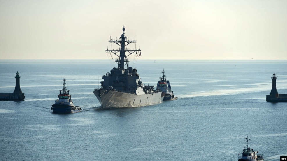 The U.S. Navy guided-missile destroyer USS Donald Cook enters the Polish military port in Gdynia in April.