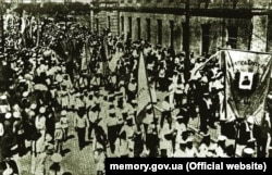 Патриотическая манифестация моряков украинского Черноморского флота. Севастополь, апрель 1918 года