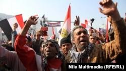 Хосни Мүбәрәктың биліктен кетірілгеніне үш жыл толуына байланысты шараға қатысушылар. Египет, 25 қаңтар 2014 жыл.