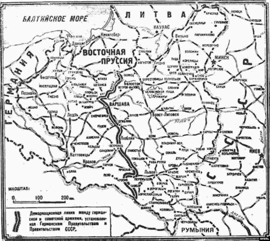 Мапа на поделбата на Полска