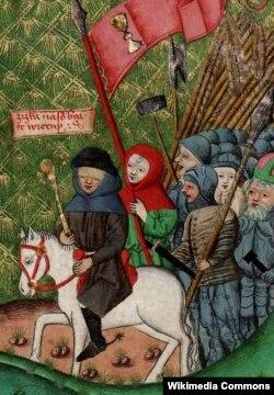 Ян Жижка во главе своей армии. Изображение конца XV века