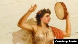 Муза Терпсихора на плафоне Большого театра изображена танцующей, с бубном