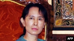 Pro-democracy leader Aung San Suu Kyi in Yangon in January 2008