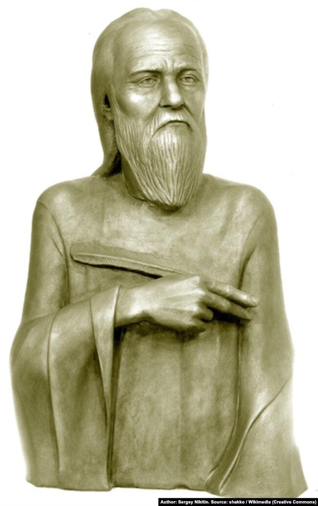 Нестор Літописець (близько 1056 – близько 1114) – київський літописець, письменник-агіограф. Скульптурна реконструкція за черепом С. Нікітіна, 1985 рік