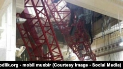Кран, который рухнул в мечети «Аль-Харам» в Мекке.