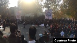 Tehran university students gathered on campus on Monday, December 4 to protest increasing pressures by authorities