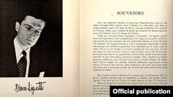 Prima pagină a amintirilor semnate de Madeleine Lipatti în volumul publicat la comemorarea de 20 de ani a morții lui Dinu Lipatti